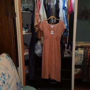 Peach short sleeve vintage short sleeve dress